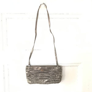 Michael Kors Silver Ruched Leather Crossbody Bag
